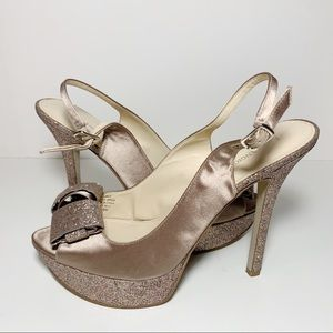Enzo Angiolini Satin Shimmer Glitter High Heels